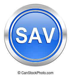sav icon, blue button