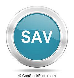 sav icon, blue round glossy metallic button, web and mobile app design illustration