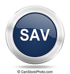 sav icon, dark blue round metallic internet button, web and mobile app illustration