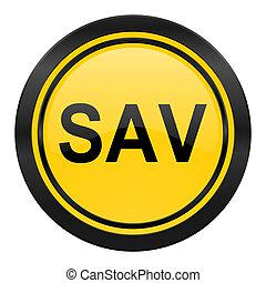 sav icon, yellow logo,