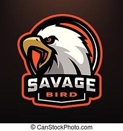 Savage bird. Eagle sports logo.
