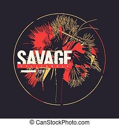 Savage California vector graphic t-shirt design, poster, ...