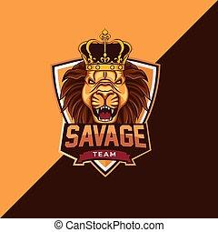 savage lion mascot logo template