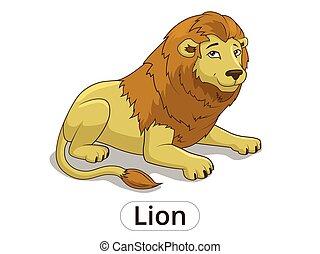 savana, leone, cartone animato, illustrazione, africano