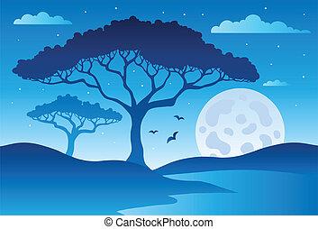 savana, scenario, 2, albero