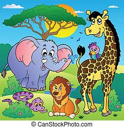 savana, scenario, 2, animali