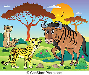 savana, scenario, 5, animali