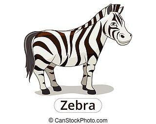 savana, zebra, africano, vettore, cartone animato, animale