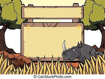 savanah, rinoceronte, safari, escena