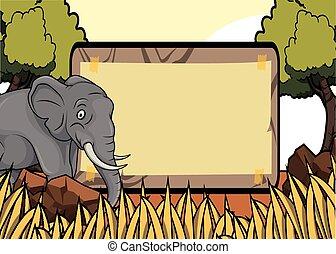savanah, safari, cena, elefante