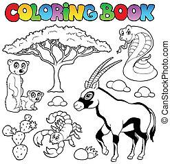 savane, 1, coloration, animaux, livre