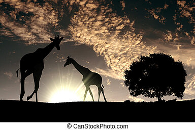 savane, animaux, africaine