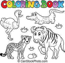 savane, coloration, 2, animaux, livre