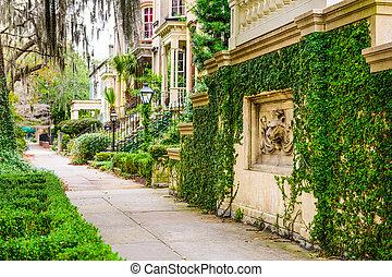 savane, usa, géorgie, trottoirs, en ville, historique, rowhouses.