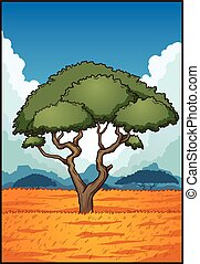 Savanna landscape - Cartoon savanna landscape. Vector clip...