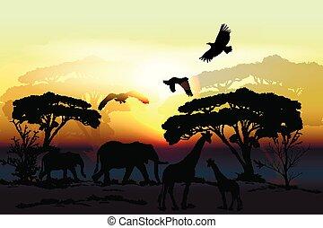 Savanna vector landscape with animals elephant, giraffe, eagles