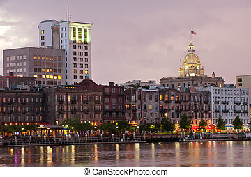 Waterfront Savannah Historic Disctrict at night