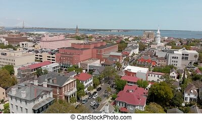 Savannah, Georgia. Panoramic aerial view of the city in spring time.