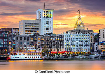 Savannah Georgia Skyline - Savannah, Georgia, USA riverfront...