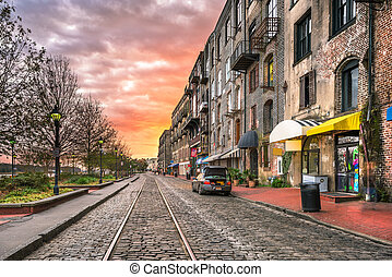 Savannah, Georgia, USA bars and restaurants on River Street