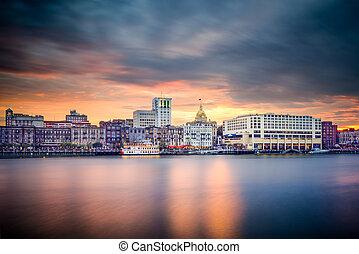 Savannah, Georgia, USA downtown Skyline