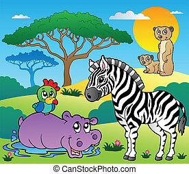 Savannah scenery with animals 4 - vector illustration.