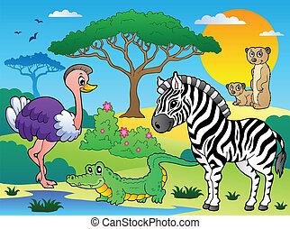Savannah scenery with animals 6 - vector illustration.