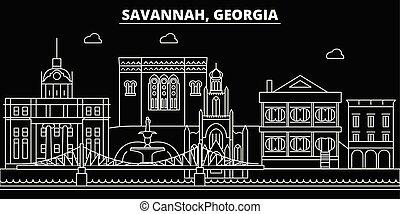 Savannah silhouette skyline. USA - Savannah vector city, american linear architecture, buildings. Savannah travel illustration, outline landmarks. USA flat icons, american line banner
