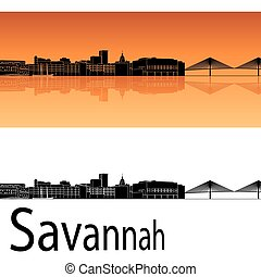 Savannah skyline in orange background in editable vector...