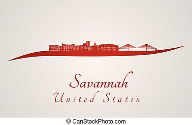Savannah Skyline in red - Savannah skyline in red and gray ...