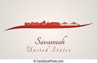 savannah, sylwetka na tle nieba, czerwony