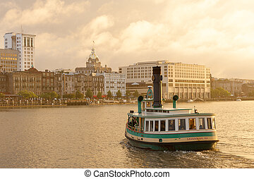 Savannah water ferry - Ferry to Historic District waterfront...