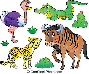 savannah, zwierzęta, zbiór, 2