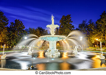 savanne, usa, georgië, park, fountain., forsyth
