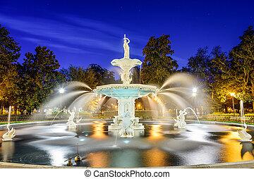 savanne, usa, georgië, park, fountain., forsyth
