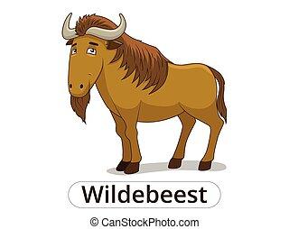 savanne, wildebeest, spotprent, dier, afrikaan