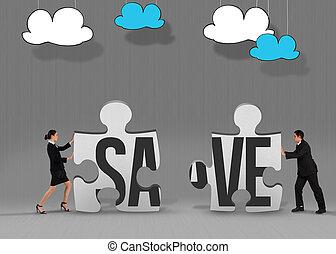 Save against grey jigsaw pieces