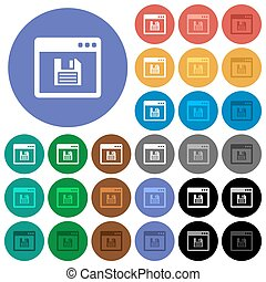 Save application round flat multi colored icons