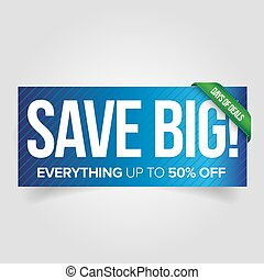 Save big - sale web banner red vector
