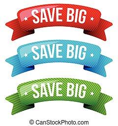 Save Big vector ribbon set