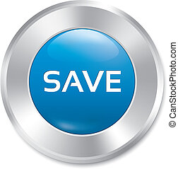 Save button. Save red round sticker. Isolated.