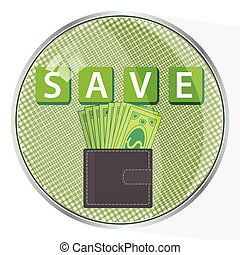 save capital concept button. a purse with money