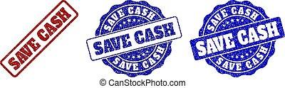 SAVE CASH Grunge Stamp Seals