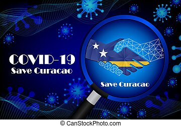 Save Curacao for stop virus sign. Covid-19 virus cells or ...