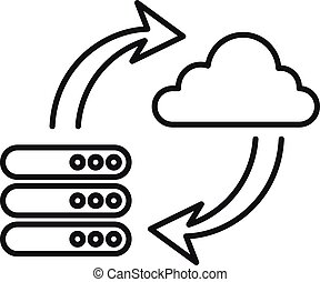 Save data cloud server icon, outline style