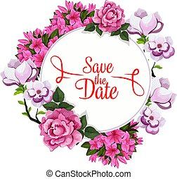 Save Date wedding greeting vector floral template