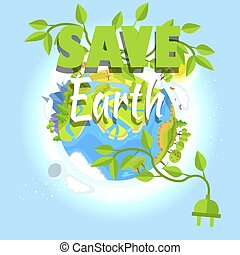 Save Earth Logo Design with Planet, Electric Plug