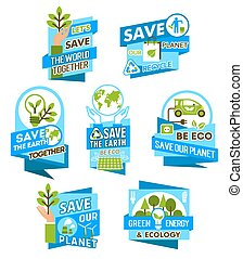 Save Earth planet icon for ecology concept design
