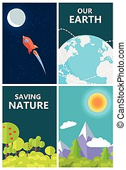 Save Earth Poster with Life on Planet and Space