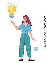 Save energy concept. LED bulb using. Economical light bulb.